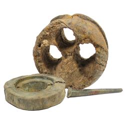 Lot of three items: wooden rigging deadeye, pulley wheel, and copper spike, from the HMS Stirling Ca