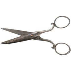 Small, silver-plated copper scissors, from the Colebrooke (1778), rare provenance.