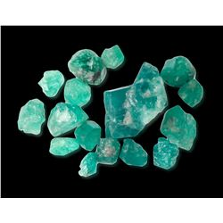 Lot of sixteen natural emeralds from Colombia, 7.1 grams total, the largest 15 carats.