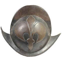 German morion helmet with embossed fleur-de-lis pattern, 1600s.