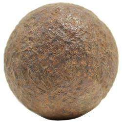 Revolutionary War-period small cannonball (1-1/2 pounder, amusette) from Ft. Ticonderoga, New York.