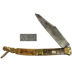 "Large Spanish sailor's navaja (folding knife), signed ""Beauvoir,"" 1800s."