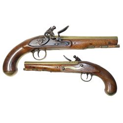 "English brass-barreled officer's pistol with flintlock signed ""Taylor,"" late 1700s."