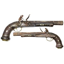 Eastern European large flintlock blunderbuss barrel pistol, late 1700s-early 1800s.