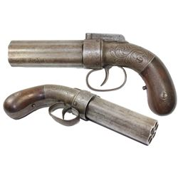 "Allen & Thurber patented .34-caliber/six-barrel ""pepper box"" percussion pistol, circa 1837."