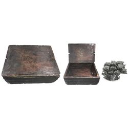 "Original, intact, wooden ammunition crate for 1000 rounds of .69 ""buck and ball"" cartridges (the bal"