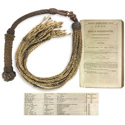 Handmade  cat of nine tails  with copy of House of Representatives 1848 list of seamen, their offens