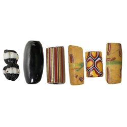 Small collection of six glass trade beads, Spanish colonial (1500s-1700s), various types.