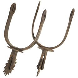 Pair of early Spanish colonial iron military horseman's spurs (espuelas), 1700s.