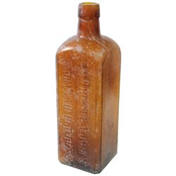 Amber glass bitters bottle, Hostetter's, 1800s.