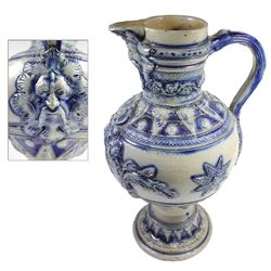 Rare early German Westerwald stoneware ewer jug with winged-lion decoration, 1600s-early 1700s.