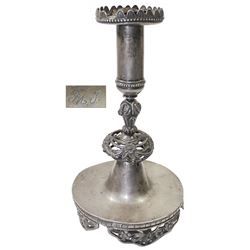Silver candlestick holder, Spanish colonial, 1700s.