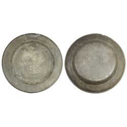 Large, British pewter plate with touchmark for Townsend and Compton of London (1784-1802).