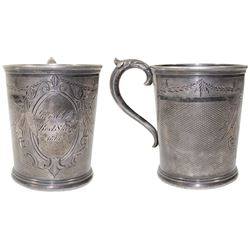 "English silver cup with W&H hallmark (Walker and Hall, Sheffield), engraved on side ""Greys Co. B / B"