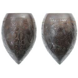 "Carved coconut ""toasting cup"" from the Republic of Independent Guiana, scrimshawed with denomination"