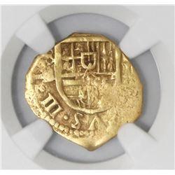 Seville, Spain, cob 1 escudo, Philip III, assayer B, NGC XF 45.