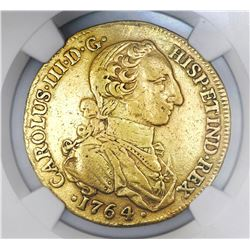 Bogota, Colombia, bust 8 escudos, 1764JV, NGC Genuine / clipped.