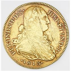 Bogota, Colombia, bust 8 escudos, Ferdinand VII (bust of Charles IV), 1813JF.