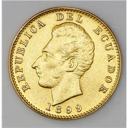 Ecuador (struck at the Heaton mint, Birmingham), 10 sucres, 1899.