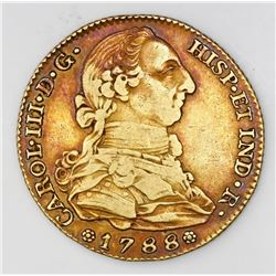 Madrid, Spain, bust 4 escudos, Charles III, 1788M.