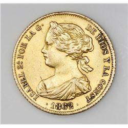 Madrid, Spain, 100 reales, Isabel II, 1862.