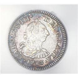 Mexico, City, Mexico, bust 1/2 real, Charles III, 1783FF, ANACS El Cazador Prime Select.