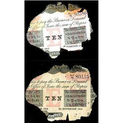 Lot of three Calcutta, British India, 10 rupees notes, 25-1-1916, series AC, serials 80386, 80387 an