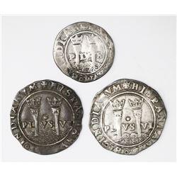 Lot of three Mexico City, Mexico,  Late Series  reales: 1R, L-oM; 1R oM-L; 1/2R M-L.