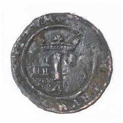 Mexico City, Mexico, copper 4 maravedis, Charles-Joanna,  Late Series,  no assayer (assayer-G period