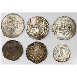 Lot of six Mexico City, Mexico, cob 2R (three), 1R (two) and 1/2R (one), Philip II, assayers O and F