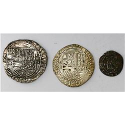 Lot of three Lima, Peru, cobs of Philip II, assayer Diego de la Torre (one 4R, one 2R and one 1/2R).