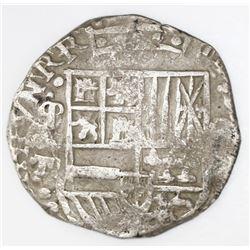 """Potosi, Bolivia, cob 8 reales, Philip III or IV, assayer T (ca. 1622), mintmark as """"phi"""" (q/P), quad"""
