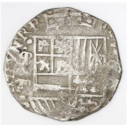 "Potosi, Bolivia, cob 8 reales, Philip III or IV, assayer T (ca. 1622), mintmark as ""phi"" (q/P), quad"