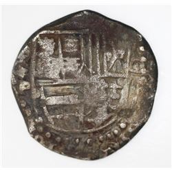 Potosi, Bolivia, cob 8 reales, Philip IV, assayer P (ca. 1622), lions and castles transposed in shie