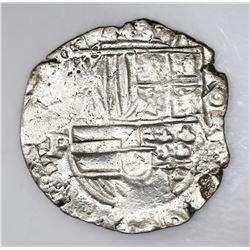 Potosi, Bolivia, cob 8 reales, Philip IV, assayer P (ca. 1622), upper half of shield and quadrants o