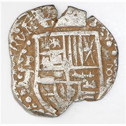"""Potosi, Bolivia, cob 8 reales, Philip IV, assayer T (style of 1629), denomination """"8,"""" heavy-dot bor"""