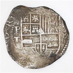 Potosi, Bolivia, cob 8 reales, Philip IV, assayer T with cross-fleury ornaments (ca. 1631).