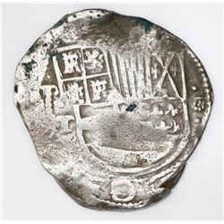 Potosi, Bolivia, cob 8 reales, (1)631T, dots above and below denomination.
