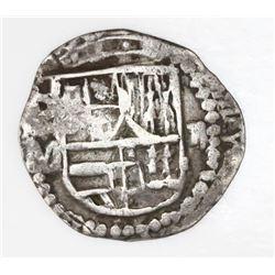 Potosi, Bolivia, cob 2 reales, Philip III, assayer M, quadrants of cross transposed.