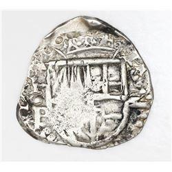 Potosi, Bolivia, cob 2 reales, Philip IV, assayer P, upper half of shield and quadrants of cross tra