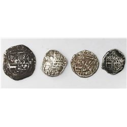 Lot of four Potosi, Bolivia, shield-type cob minors (two 2R, two 1R), Philip II-IV, assayers B, T an