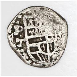 Potosi, Bolivia, cob 1 real, Philip III or IV, assayer T, quadrants of cross transposed.