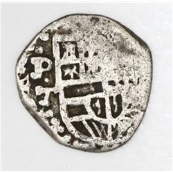 Potosi, Bolivia, cob 1 real, Philip III or IV, assayer T, quadrants of cross transposed.