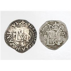 Lot of two Potosi, Bolivia, cob 1/2R, Philip II, assayer B to left (1st period) and assayer L/B belo