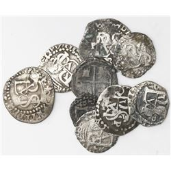 Lot of nine Potosi, Bolivia, cob 1/2R of Philip II and III, assayers B, R, Q and no assayer.