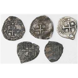 Lot of five Potosi, Bolivia, cob 1R, 1652 Transitionals, various McLean Types.
