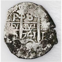 Potosi, Bolivia, cob 8 reales, 1741P.