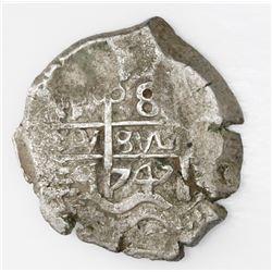Potosi, Bolivia, cob 8 reales, 1747q.
