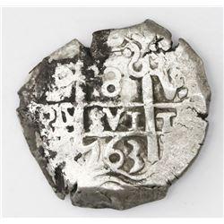 Potosi, Bolivia, cob 8 reales, 1763V-Y.