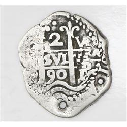Potosi, Bolivia, cob 2 reales, 1690VR.